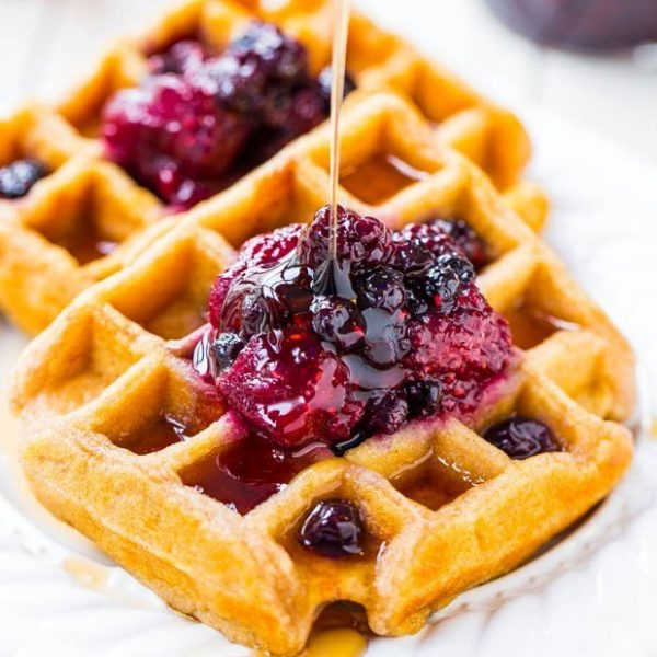 crispy waffle and jam